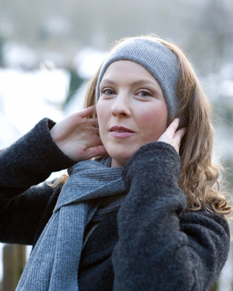 Damen Stirnband mit Ohr, Ganterie, Wolle mit Baumwollfutter, 4 Farben