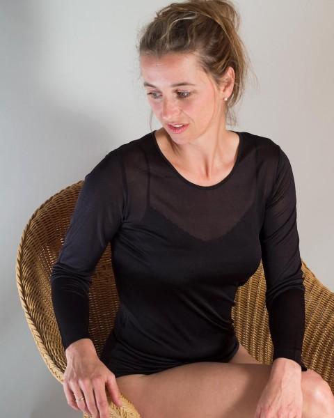 Damen Unterhemd langarm, Alkena, 100% Seide (kbT), 75 gr./m²