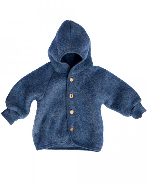 Angebot: Baby Kapuzenjacke Fleece, Engel Natur, 100% Wolle (kbT), 7 Farben