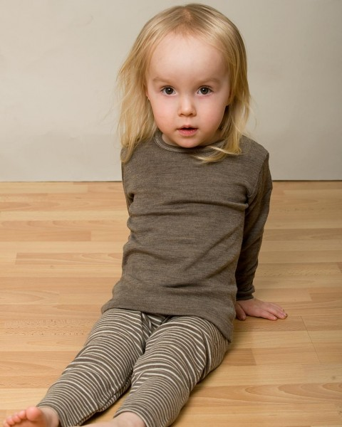 Kinder Unterhemd langarm, Wolle Seide, Engel Natur