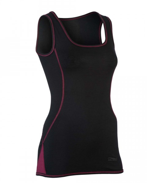 Damen Sport Tank Top, Engel Natur, Wolle Seide, maschinenwaschbar, Black/Tango Red